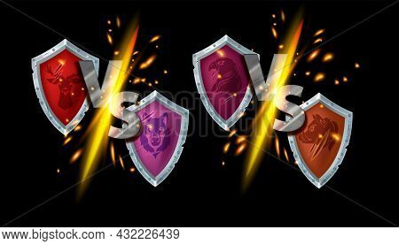 Vs Game Fight Vector Sign Kit, Versus Esport Battle Competition Logo, Metal Shield, Team Animal Masc