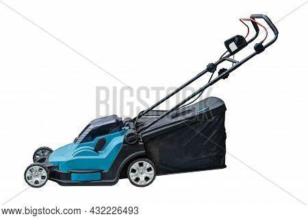 Lawn Mover Machine Cut Green Grass Isolated On White Background, Hobby Planting Home Garden.