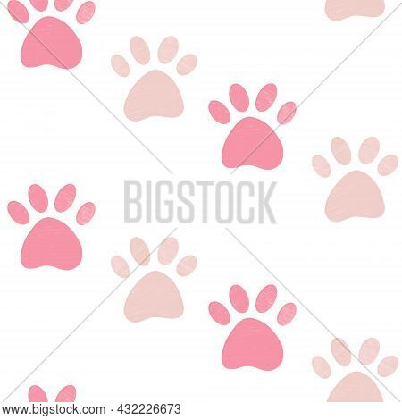 Cute Seamless Pattern With Pink Crayon Pencil Textured Pet Paw Print On White Background. Sweet Vect
