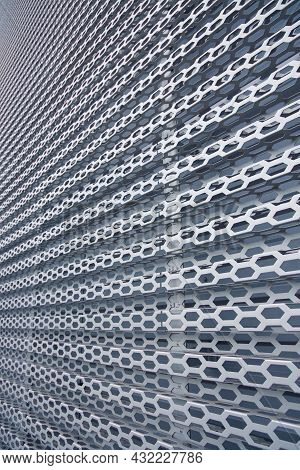 Background Construction Of Industrial Metal Wall Cells Vertical Surface Picture