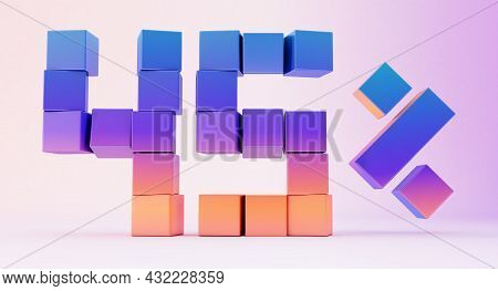 Colorful Boxes Forming The Number Forty-five Isolated On White Background, 3d Render
