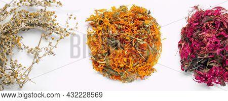 Assortment Of Dried Relaxing Tea Herbs On White Background Close Up. Calendula, Monarda Didyma, Worm
