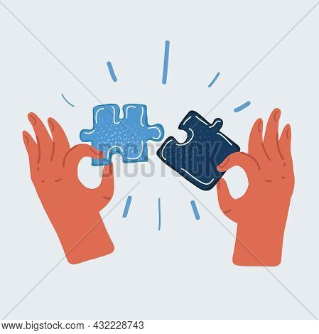 Vector Illustration Of Missing Piece Of Jigsaw And Puzzle In Human Hands.