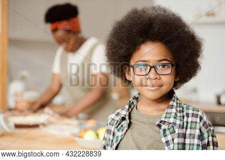 Cute youngster in casualwear and eyeglasses standing in the kitchen against his mother cooking