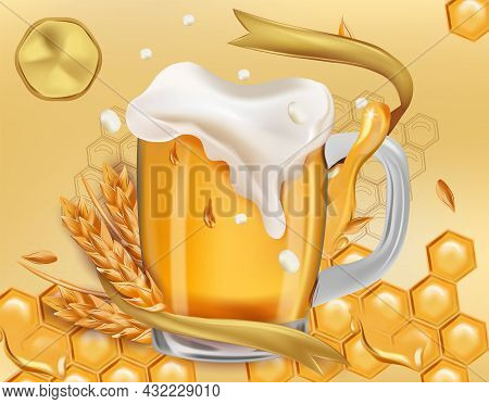 Refreshing Mug Beer With Splashing Foam And Wheat Ears, Honey. Full Cup With Beer For Alcoholic Drin