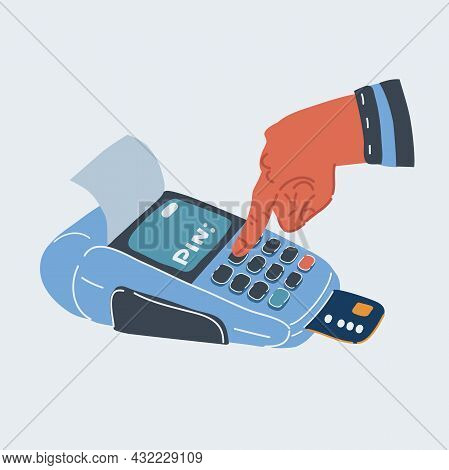 Vector Illustration Of Hand Enter Pin Code In A Small Point Of Sale Terminal.
