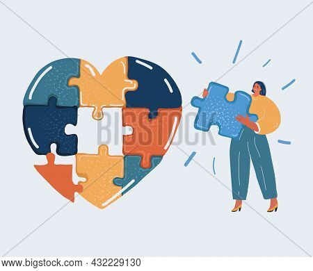Vector Illustration Of Woman Hold Peace Of Puzzle, Jigsaw Elements Form A Whole Heart. Harmony In Lo