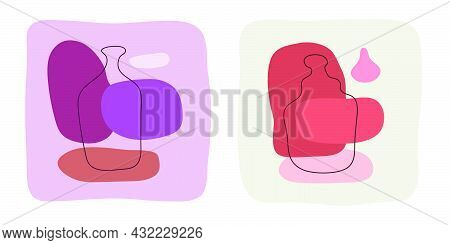 Wine Liquor Bottle On Abstract Background. Hand Drawn Doodle Various Shapes, Spots. Contemporary Mod