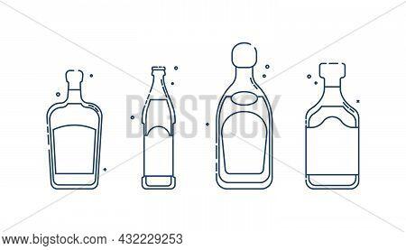 Bottle Rum Tequila Liquor Beer Line Art In Flat Style. Restaurant Alcoholic Illustration For Celebra