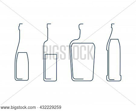 Bottle Continuous Line Beer, Vodka, Liquor And Wine In Linear Style On White Background. Solid Black