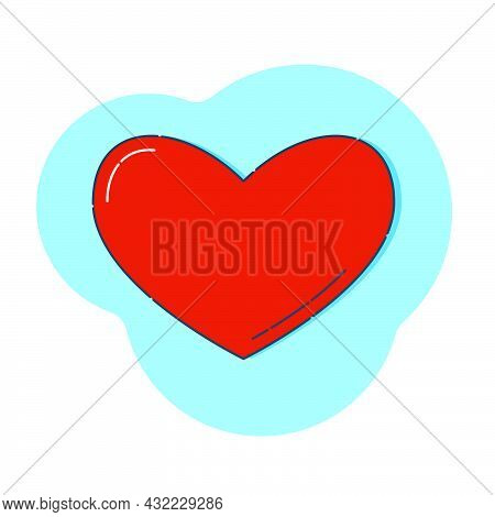 Linear Red Shape Heart On A Colored Abstract Background. Modern Illustration With Reflection And Sha