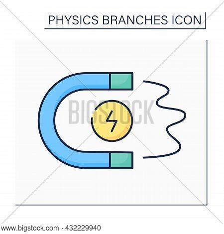 Magnetism Color Icon. Electric Charges Motion. Attract Charged Bodies To Magnet. Electromagnetism. P