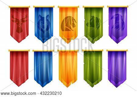Game Team Flag Set, Vector Medieval Battle Ui Cloth Banner, Knight Royal Pennant, Esport Victory Log