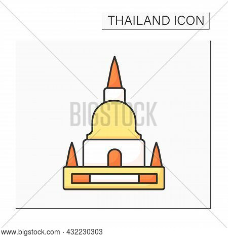 Pagoda Color Icon. Buddhist Building. Buddhist Stupas For Storing Sacred Relics Or Memorial Complexe