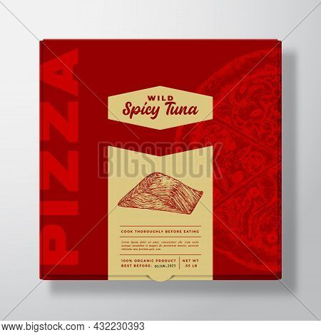 Pizza With Seafood Tuna Realistic Cardboard Box Mockup. Abstract Vector Packaging Design Or Label. M