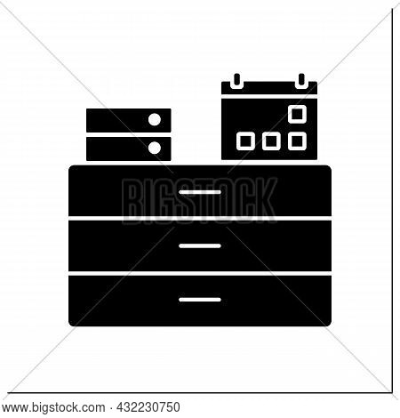 Commode Glyph Icon. Furniture. Commode With Calendar And Folders On It. Workplace. Office Concept. F