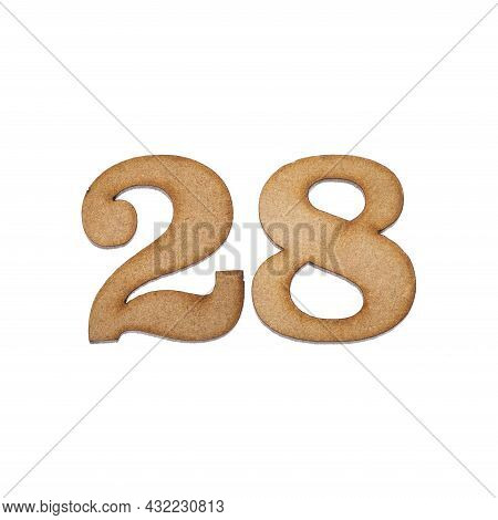 Number 28 In Wood, Isolated On White Background