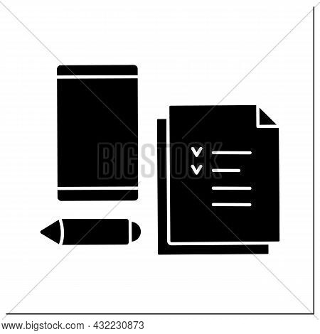 Workplace Glyph Icon. Checklist, Pencil And Mobile Phone For Doing Tasks. Work Atmosphere.workplace.