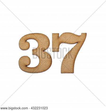 Number Thirty-seven, 37 - Piece Of Wood Isolated On White Background