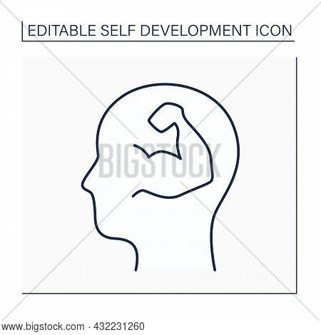 Self-confidence Line Icon. Realistic Confidence In Own Judgment, Ability, Power. Psychologically Str