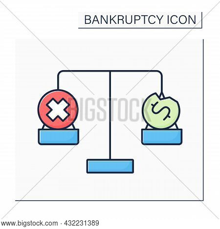 Balance Color Icon. Bankruptcy Versus Insolvency. Inability To Pay Debts. Bankrupt Is Insolvent.bank
