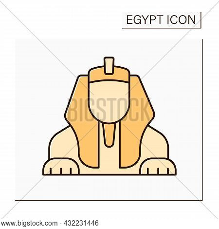 Sphinx Color Icon. Limestone Statue Of Reclining Giza Sphinx. Mythical Creature.lion Body And Human