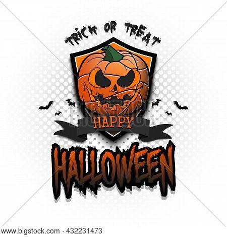 Happy Halloween. Logo Basketball Ball As Pumpkin
