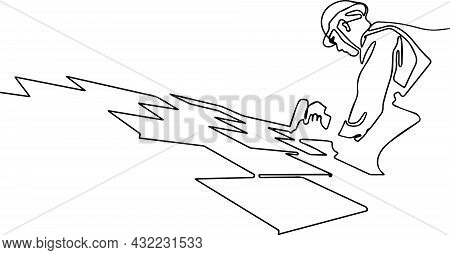 Roofer Working In Special-protective Work Wear Gloves Using Air Or Pneumatic Nail Gun Installing. Ma