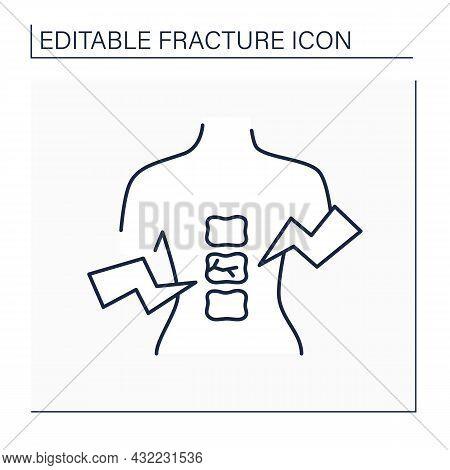 Compression Fracture Line Icon. Trauma In Vertebrae. Backache.healthcare Concept. Isolated Vector Il
