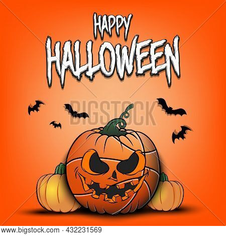 Happy Halloween. Basketball Ball As Pumpkin