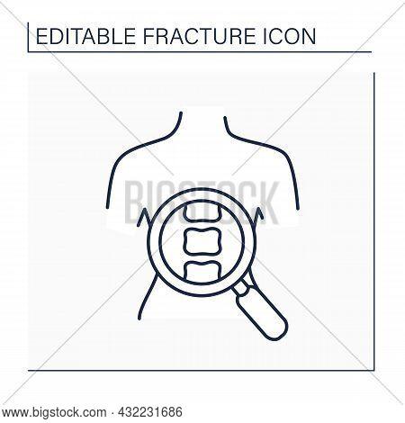 Diagnostic Line Icon. Complex Body Diagnostic. Examination Of Vertebrae Compression. Back Fracture.