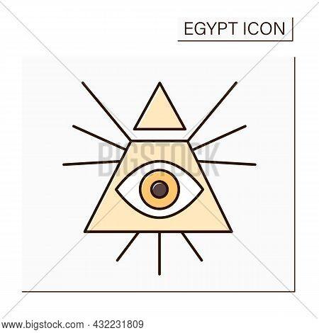 Illuminati Color Icon. Eye Of Horus Symbol. Secret Society. Dominance Over Passions Through Educatio