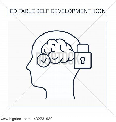Mental Conditioning Line Icon.brain Training. Modify Thoughts, Attitudes, And Beliefs To Accept Thin