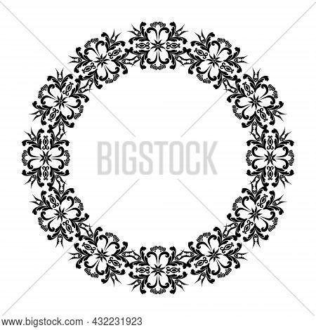 Floral Round Shape. Frame With Decorative Vintage Floral Elements,victorian Decor Ornamental Pattern