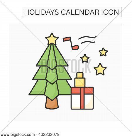 Christmas Day Color Icon.christian Holiday Celebrating Jesus Christ Birth.people Sing Carols, Get Gi
