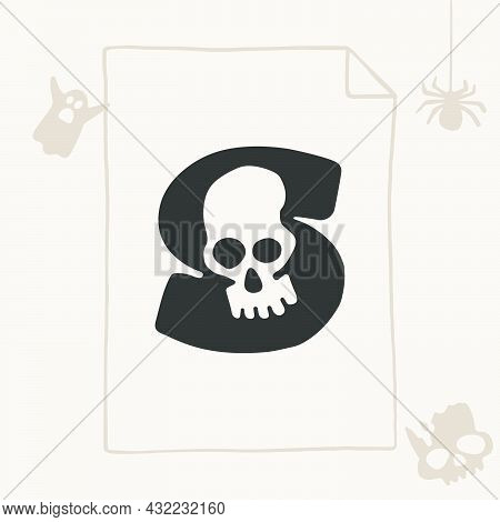 S Letter Logo With A Skull. Vector Template For Your Halloween Invitation Card Design.