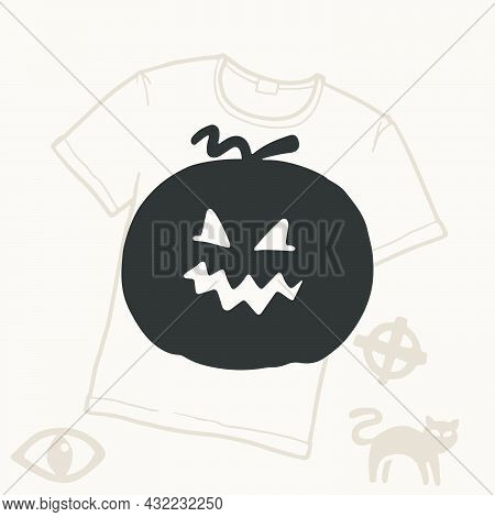 O Letter Logo With A Pumpkin. Vector Template For Your Halloween T-shirt Design.