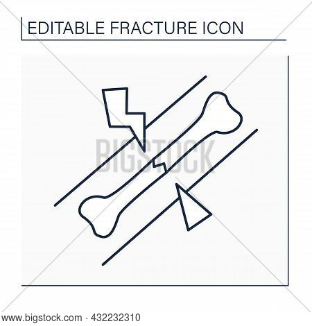 Hairline Fracture Line Icon.stress Fracture. Small Crack Or Severe Bruise Within Bone. Crush. Feet A