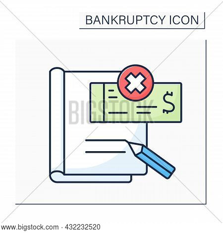 Petition Color Icon. Formal Letter To Court Asking Person Or Company To Be Declared Bankrupt. Offici
