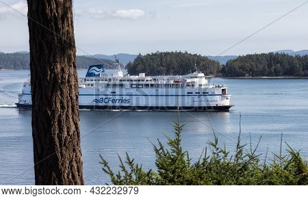 Victoria, Vancouver Island, British Columbia, Canada - August 18, 2021: Bc Ferries Boat Arriving To