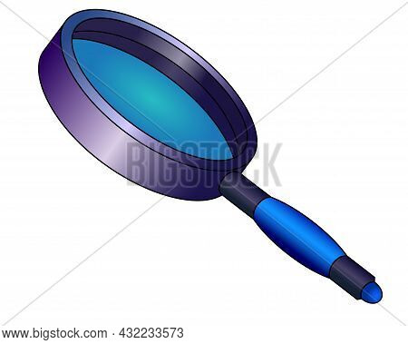 Magnifier, - Magnifying Glass - Vector Color Illustration. A Framed Magnifying Lens Is A Magnifying