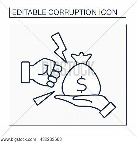 Anti Bribery Line Icon. Avoiding Corruption Actions. Fight Against Illegal Investment And Bribes. Co