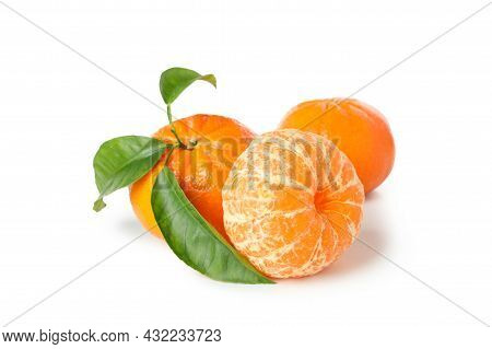 Fresh Tasty Mandarins Isolated On White Background