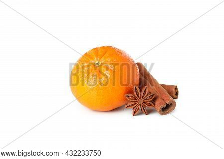 Mandarin And Cinnamon Isolated On White Background