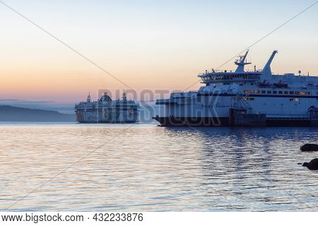 Victoria, Vancouver Island, British Columbia, Canada - August 19, 2021: Bc Ferries Boat Leaving The