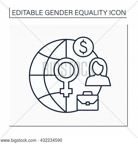 Female Economic Activity Line Icon. Women In Economy And Business. Female Labour Force Participation