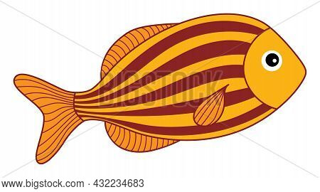 Isolated Cute Tropical Orange Fish With Stripes. Vector Cartoon Fish. Fish Vector Illustration