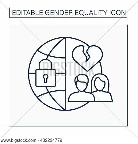 Forced Marriage Line Icon. Marry Without Consent Or Against Will. Unhappy.gender Equality Concept. I