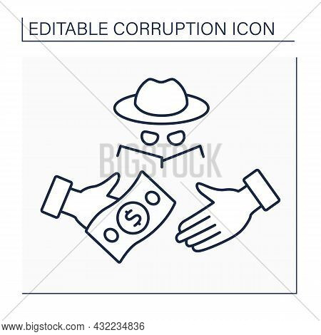 Fraud Line Icon. Intentional Deception To Secure Unfair Or Unlawful Gain. Criminal Deception Intende