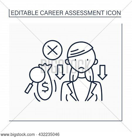 Poverty Line Icon. Low Salary. Lost Money Due To Low Motivation And Productivity. Empty Money Bag. C